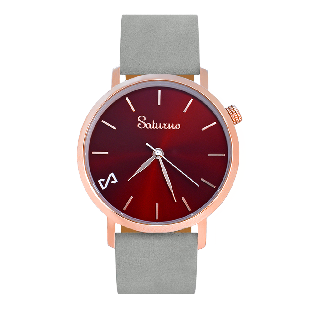 Men's and Women's Watches- White Rose Gold Stainless Steel-Round Swiss Quartz-Interchangeable Gray Leather Strap-Style Watches