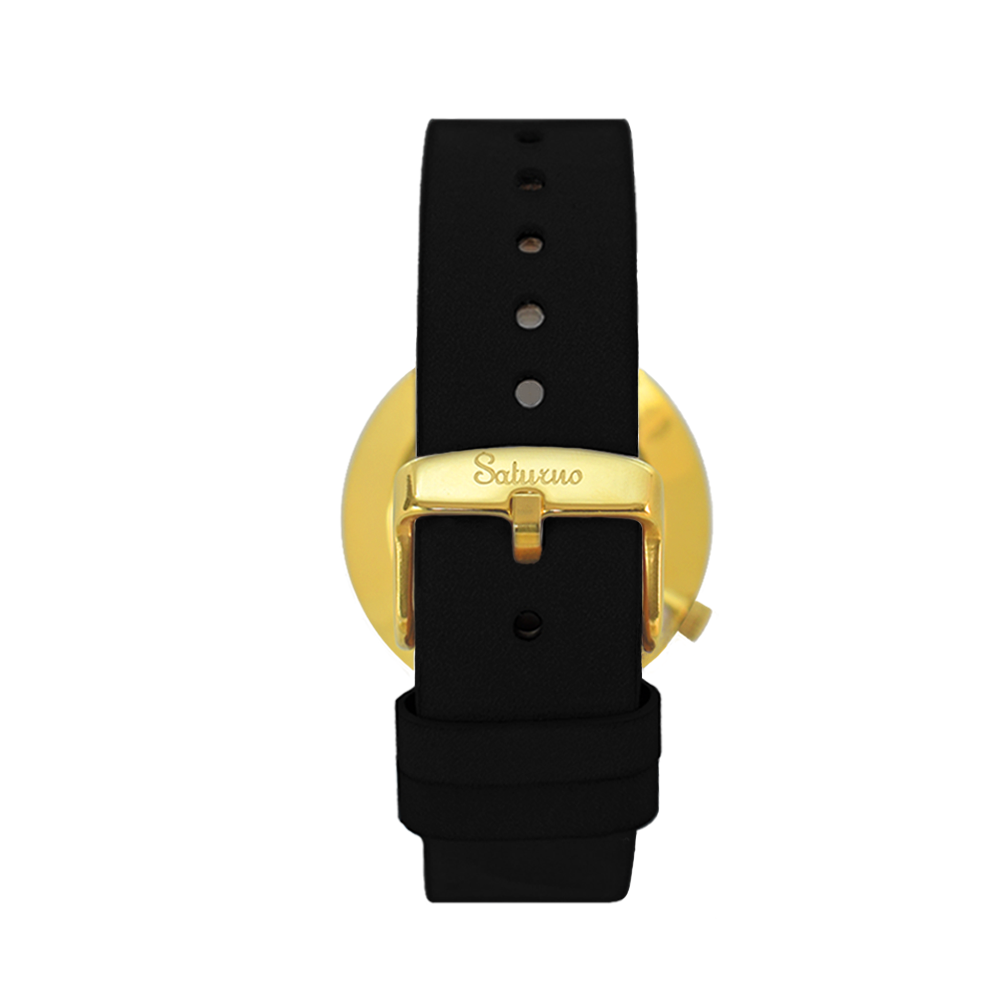 gold-colored men's and women's watches- black stainless steel-round swiss quartz-interchangeable black leather strap-bracelets watches straps