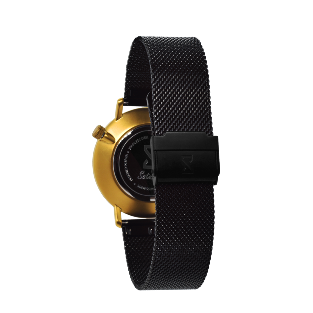 Men's and Women's Watches-Gold and Black Stainless Steel-Round Swiss Quartz-Interchangeable Black Steel Strap-Bracelets Watches