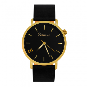 gold-colored men's and women's watches- black stainless steel-round swiss quartz-interchangeable black leather strap-style bracelets watches
