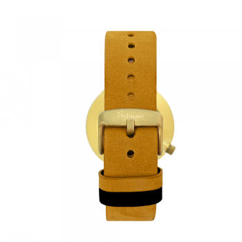 bracelets straps-leather watch strap-interchangeable-easy removable-mustard color-matte gold buckle