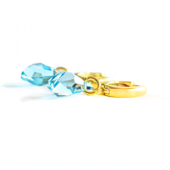 Gold color earrings for women small hoops silver925 24K gold plating - Aquamarine Swarovski crystal - Women's jewelery, saturn fashion-style earrings- women's accessories