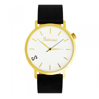 Black SNOW -Leather Watch- Gold
