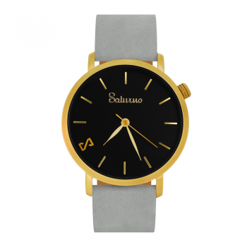 GREY SAND -Leather Watch- Gold.