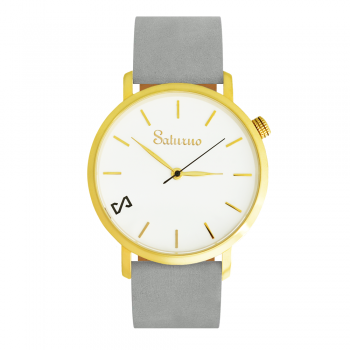 GREY SNOW -Leather Watch- Gold.