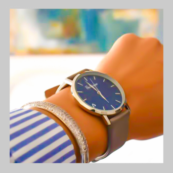 Men's and Women's Watches- Blue Stainless Steel Watch-Round Swiss Quartz-Interchangeable Gray Leather Strap-Fashion Style watches