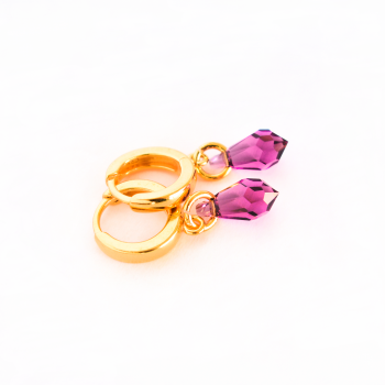 Small hoop earrings AG925 silver - 24K gold plated - Purple Swarovski crystal - Saturn fashion women's jewelry