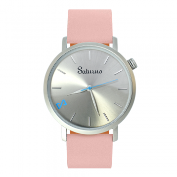 Women's Watches- Gray Stainless Steel-Round Swiss Quartz-Interchangeable Pink Leather Strap-Fashion