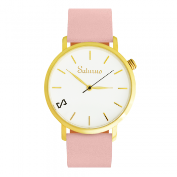 Women's Watches- White Gold Color Stainless Steel-Round Swiss Quartz-Interchangeable Pink Leather Strap-Fashion Bracelets watches-style woman Jewelry