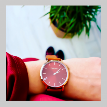 men's and women's watches- burgundy rose gold color stainless steel-swiss quartz round-interchangeable brown leather strap-style bracelets Watches