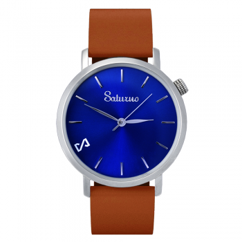 Men's Watches - Blue Stainless Steel-Round Swiss Quartz-Interchangeable Brown Leather Strap-Wristwatch