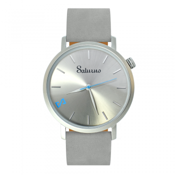 men's and women's watches- gray stainless steel-round swiss quartz-interchangeable gray leather strap-bracelets watches