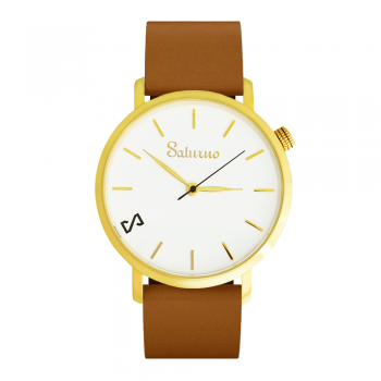 WHITE SNOW -Leather Watch- Gold.