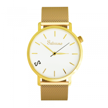 Men's and Women's Watches- White Gold Color Stainless Steel-Round Swiss Quartz-Interchangeable Gold Color Strap-Bracelets Watches
