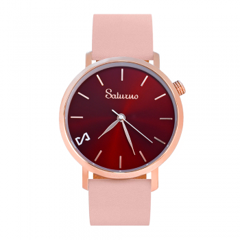 Women's Watches- Rose Gold Color Stainless Steel-Round Swiss Quartz-Interchangeable Pink Leather Strap-Bracelets Straps Watches