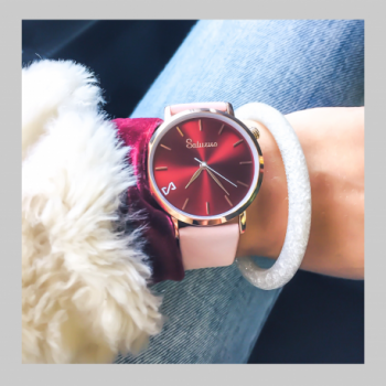 Women's Watches- Rose Gold Color Stainless Steel-Round Swiss Quartz-Interchangeable Pink Leather Strap-style Bracelets Watches