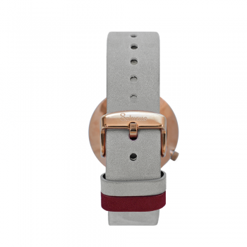 Men's and Women's Watches- White Rose Gold Stainless Steel-Round Swiss Quartz-Interchangeable Gray Leather Strap-Watches straps