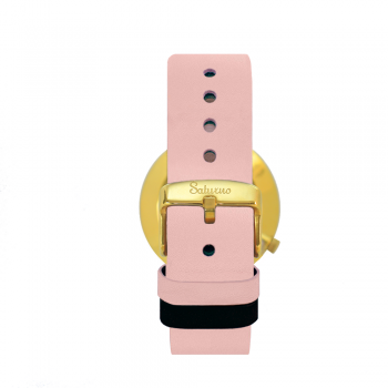 Women's Watches- White Gold Color Stainless Steel-Round Swiss Quartz-Interchangeable Pink Leather Strap-Style watches woman