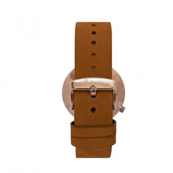 men's and women's watches- burgundy rose gold color stainless steel-swiss quartz round-interchangeable brown leather strap-bracelets