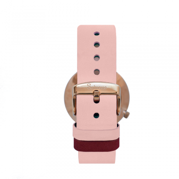 Women's Watches- Rose Gold Color Stainless Steel-Round Swiss Quartz-Interchangeable Pink Leather Strap-Bracelets Watches